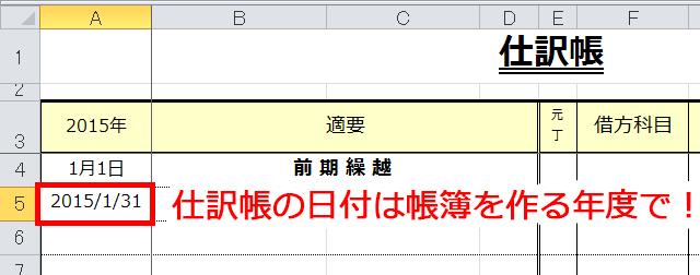 仕訳帳の日付の入力方法の説明図
